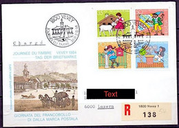 Schweiz Suisse 1984: R-Brief Mit Pro Juventute Zu 290-293 Mi 1284-87 Yv 1213-16 O VEVEY - JOURNÉE DU TIMBRE - Covers & Documents