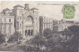 CPA - Tunisie - Tunis - La Cathédrale Et L'Avenue De La Marine - Tunesië