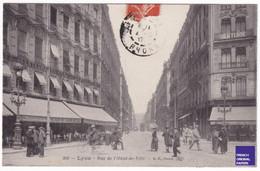 TBE Lyon / Rue De L'Hôtel De Ville - Jolie CPA Animée - Café Restaurant Dumoulin Morel / Dentiste / Vélo Tramway D2-16 - Lyon 1