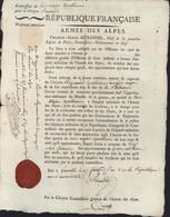 1793 Nomination Aide Major Apothicaire Dans Hôpital Ambulant Armée Des Alpes An 2 Autographe Charles Alexis ALEXANDRE - Autographes