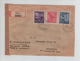 701PR/ Deutsches Reich Böhmen & Mähren WW2 Registered Cover  Prag 1943 Tape Censorship Stamp Cancellation C16 > Belgium - Guerre Mondiale (Seconde)