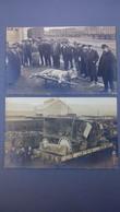 2 Cartes Photo De Roanne, Accident Ferroviaire (train) Transport Du Cirque Juliano, Animaux Morts Dont Un Lion - Roanne