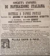 SOC.AN.DI NAVIGAZIONE ITALIANA BATTELLI POSTALI A VAPORE : ANCONA - ALESSANDRIA - CORFU'  Su GIORNALE  COMPLETO Del 1863 - Advertising
