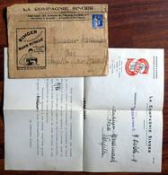 Documents Commerciaux De 1939 SINGER (machine à Coudre) Enveloppe + Lettre De La Succursale De Maubeuge Nord 59 - Advertising