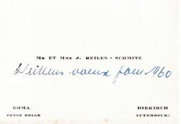 Carte De Visite Ancienne CONGO BELGE  Goma  Diekirch Mr & Mme REILES - SCHMITZ - Visiting Cards