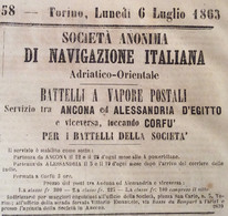 SOC.AN.-NAVIGAZIONE ITALIANA : VAPORI POSTALI  ANCONA- ALESSANDRIA-CORFU' ORARI PARTENZE E PREZZI Su Giornale Del 1863 - Pubblicitari