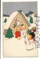2 Anges Et Deux Enfants En Prière Devant Un Oratoire Enneigé. Genre Ballin - Anges