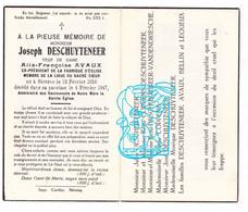 DP Joseph DeSchuyteneer ° Biévène Bever 1856 † 1947 X Alix F. Avaux / Coppens VandenDriessche Bellin Lequeux - Andachtsbilder