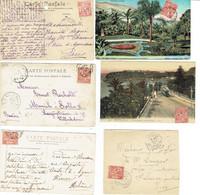 23 Monaco Albeert 1er 10 C. Rouge Lot De 5 CP Et Un Devant De Lettre - Storia Postale