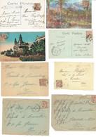 24 Monaco Albert 1er 15 C. Marron Lot De 5 CP Et 3 Devants De Lettres - Storia Postale