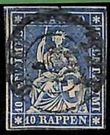 94991aC - SWITZERLAND - STAMP - Zumstein # 23 Green Thread  / Medium Paper USED - Gebraucht