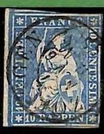 94991aE  - SWITZERLAND - STAMP - Zumstein # 23 Green Thread  / Medium Paper USED - Gebraucht