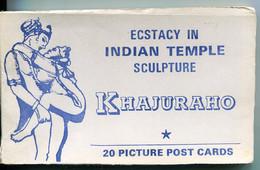 CPM Inde KHAJURAHO Temple De L'Amour Statues Erotiques Carnet De 20 Cartes Postales   Complet - India