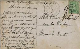 Carte Fantaisie Envoyée De MONTIGNY-s-Sambre Avec Obl. CHARLEROI 11 Agence Postale Vers BRAINE-LE-COMTE - Postmarks With Stars