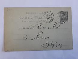 Entier Postal Type Sage Envoyé La Place De Clery Paris Vers Ninove Le 30 Janvier 1899 ... Lot210 . - Standaardpostkaarten En TSC (Voor 1995)