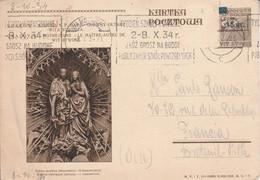 POLOGNE ENTIER CARTE POUR LA FRANCE 1934 - Briefe U. Dokumente