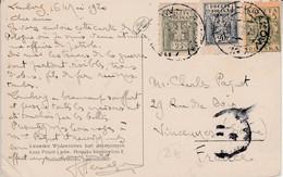 POLOGNE AFFRANCHISSEMENT COMPOSE SUR CARTE POUR LA FRANCE 1920 - Briefe U. Dokumente