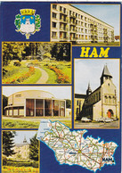 80  HAM. CARTE MULTIVUES. 5 VUES ET SON POSITIONNEMENT SUR LA CARTE DEPARTEMENTALE . ANNEE 1989 +TEXTE - Ham