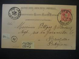 Österreich 1888- Ganzsache Weltpostverein Corr-Karte Gelaufen Von Wien Nach Bruxelles - Enteros Postales