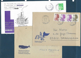 6 Enveloppes Avec Illustrations Et Textes De Propagande (antinucléaire, Greenpeace (années 1984 à 2004) - 2 Scans - Sonstige