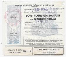 Timbre FRANCHISE MILITAIRE Pour COLIS - Bon Pour Un Paquet En Franchise Postale - YT 14 Avec Cachet 32e Reg Artillerie - Militaire Zegels (zonder Portkosten)