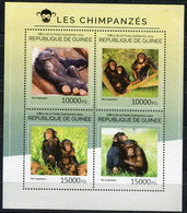 GUINEE THEME FAUNE PRIMATES N°7322 / 7325 CHIMPANZES - Chimpanzees
