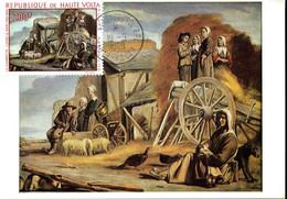 OUAGADOUGOU RP 16 Sept 1968 Carte Maximum Tableau Louis Le Nain La Charrette Paysan Ferme - Upper Volta (1958-1984)
