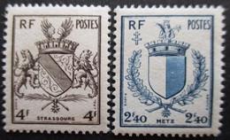 FRANCE Armoirie De Metz Et Strasbourg N°734 Et 735 Neuf ** - 1941-66 Wappen