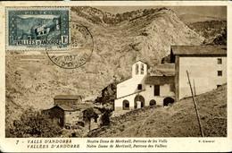 ANDORRE LA VIEILLE VAL D'ANDORRE 1937 Carte Maximum Sanctuaire De Notre Dame De Meritxell - Storia Postale