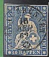 94991dA - SWITZERLAND - STAMP - Zumstein # 23 Green Thread  / Thick Paper -  Very Fine USED - Gebraucht