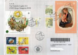San Marino 2020 Busta FDC 500° Raffaello - Europa - Sostenibilità - Raduno Alpini - 100° Fellini - Animali  ° VFU - Gebruikt