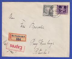 Tschechoslowakei 1919 Mi-Nr. 34 Und 39 Auf R-Expr.-Brief - Ohne Zuordnung
