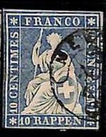 94991dG - SWITZERLAND - STAMP - Zumstein # 23 Green Thread  / Thick Paper -  Very Fine USED - Gebraucht