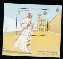 San Marino 2020 Centenario Della Nascita Di Di San Giovanni Paolo II 1v In Foglietto Complete Set ** MNH - Ungebraucht