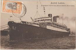 CPA   PAQUEBOT POSTE DES MESSAGERIES MARITIMES  ANDRE LEBON  -DJIBOUTI 1922 - Passagiersschepen
