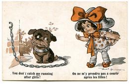 Illustration - Fillette Et Petit Chien - On Ne M'y Prendra Pas à Courir Après Les Filles ! - Humorkaarten