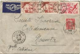 N° 762 PAIRE +721A+PA50FR LETTRE AVION VALLAURIS 17.9.1948 POUR NOUMEA NOUVELLE CALEDONIE AU TARIF - 1921-1960: Moderne