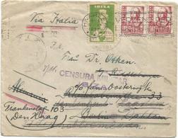 ESPANA 25CX2 LETTRE COVER IBIZA BALEARES 1917 + VIGNETTE IBIZA + CENSURA TO BERLIN REEXP NEDERLAND - 1931-50 Storia Postale