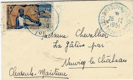 1951- Enveloppe Carte De Visite Affr. à 3 F  De DJIBOUTI  Cad Bleu Pour La France - Briefe U. Dokumente