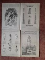 """Lot De 7 Numeros De """" L'Art Pour Tous""""  1872 à 1879  - Planches De 60/ 84 Cm Pliees En 4 - Encyclopedie De L'art Indust. - Other Plans"""