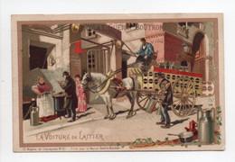 - CHROMO CHOCOLAT GUÉRIN-BOUTRON - PARIS - Série Moyens De Transports N° 21 : LA VOITURE DE LAITIER - - Guérin-Boutron