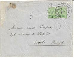 LettreTP. 137 (x2) Obl. Fortune MONTIGNIES LE-TILLEUL Double Cercle 1919 Vers UCCLE - Fortune Cancels (1919)