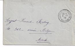 Lettre En Franchise De CALAIS-Bd Léon Gambetta Du 4/7/1916 Verso PMB Ss. N° Vers Marche - Army: Belgium