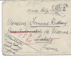 Lettre En Franchise D'Angleterre Du 25/8/1916 Vers Armée Belge à Calais Réexp. EU Avec Vignette Et PMB Au Verso - Army: Belgium
