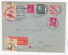 Begien Express-Brief Von Antwerpen Nach Oslo Mit MIF+Zensur+Perfin - Cartas