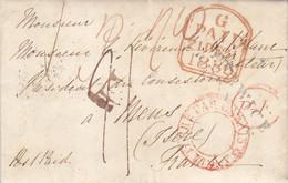 LAC D'Angleterre 1836 Pour Mens  Isére Marque D'entrée Angleterre Par Calais En Rouge - ...-1840 Voorlopers