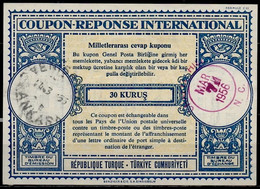 TURQUIE / TURKEY Lo16n 30 KURUS Int. Reply Coupon Reponse Antwortschein IRC IAS O ANKARA 14.3.55 Redeemed USA - Interi Postali