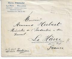 Lettre Hôtel PAULEZ (P-BAS) Du Gouvernt Belge Vers LE HAVRE De La Part De ... - Other Covers