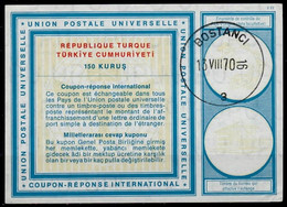 TURQUIE / TURKEY Vi19 150 KURUS International Reply Coupon Reponse Antwortschein IRC IAS O BOSTANCI 13.8.70 - Interi Postali
