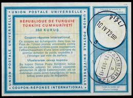 TURQUIE / TURKEY Vi20 350 KURUS Int. Reply Coupon Reponse Antwortschein IRC IAS O SISLI 10.4.72 REDEEMED HAMBURG - Interi Postali